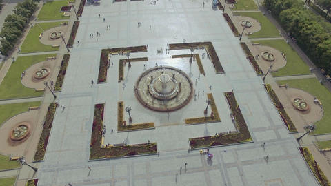 top aerial view over the fountain on the square Russia Khabarovsk Lenin square Live Action