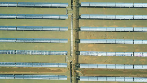 Aerial view of modern molten salt technology solar power station Live Action