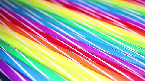 Fancy straw straws colorful rainbow colored rotating seamless looping background Live Action