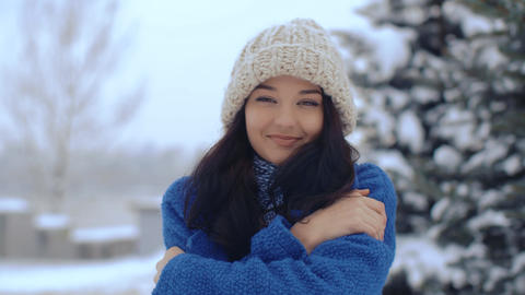 Young smiling woman winter portrait Footage