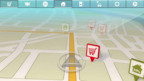 GPS Location Services/Points of Interest Demo Stock Video Footage