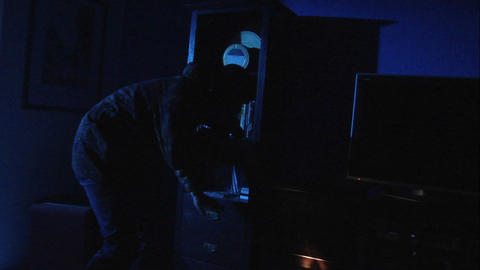 nab burglar with gun 10841 Stock Video Footage