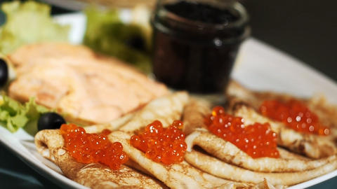 Dolly Of Pancake With Red Caviar stock footage