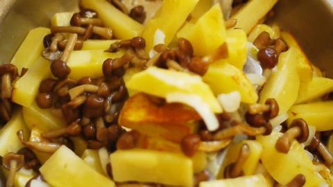 Fry a potato Stock Video Footage