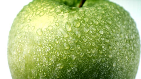 Green apple with dew Stock Video Footage