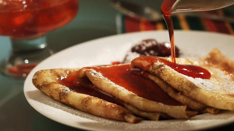 Pancake And Strawberry Syrup stock footage