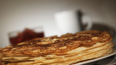 Pancake with melted butter Stock Video Footage