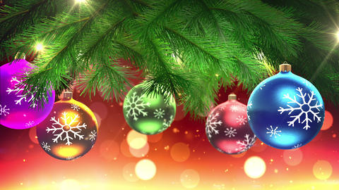 christmas tree and decorations loop Stock Video Footage