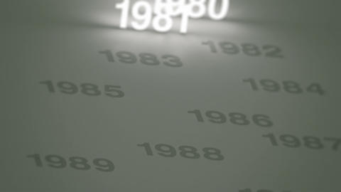 Glowing Numbers Timeline: 1970s, 1980s and 1990s Stock Video Footage