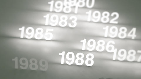 Glowing Numbers Timeline: 1970s, 1980s and 1990s Animation