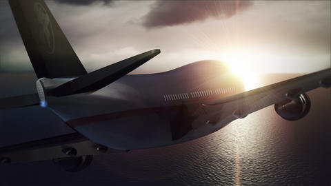 Passenger Aircraft Flying Against The Sunset stock footage
