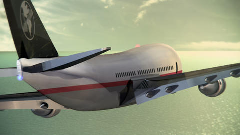Passenger Aircraft Flying Over the Ocean Stock Video Footage