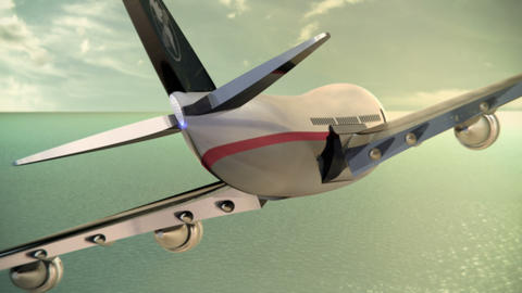 Passenger Aircraft Flying Over the Ocean Animation