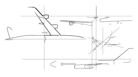Aircraft Technical Drawing Time Lapse Stock Video Footage
