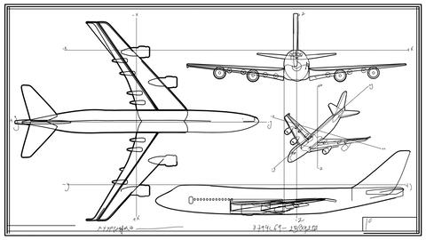 Aircraft Technical Drawing Time Lapse Animation