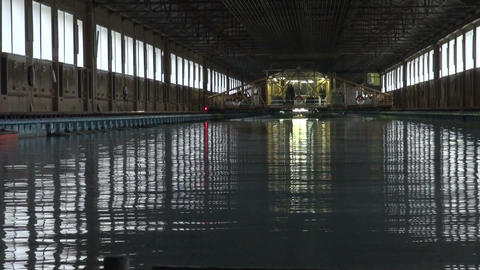 The testing pool for ship models Stock Video Footage