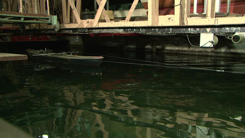 Testing the model of a ship in the pool Stock Video Footage