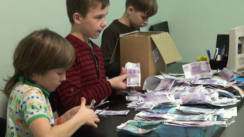Counting the money and bills Stock Video Footage