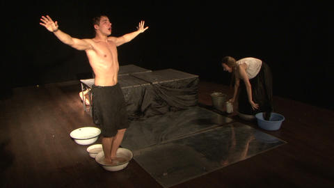 Theatrical sketch with water Footage