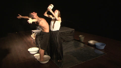 Theatrical sketch with water Stock Video Footage