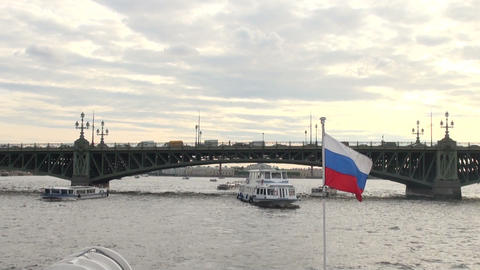 The Russian flag on the boat Footage