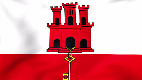 Flag Of Gibraltar Stock Video Footage