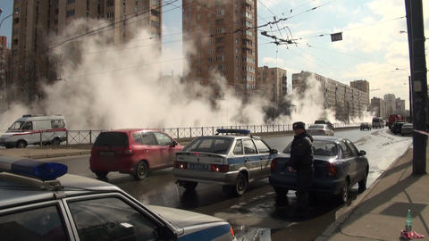 The accident, spill the hot water in the city Stock Video Footage