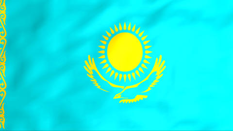 Flag Of Kazakhstan Stock Video Footage