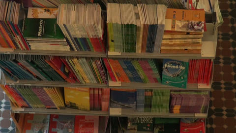 A shelf with books Stock Video Footage