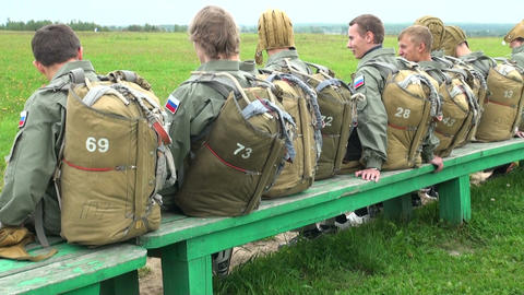 The paratroopers at the airport Stock Video Footage
