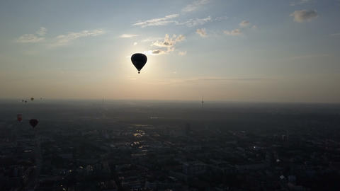 Aerial view of hot air balloons over Vilnius city, Lithuania. Hot air balloons Live Action