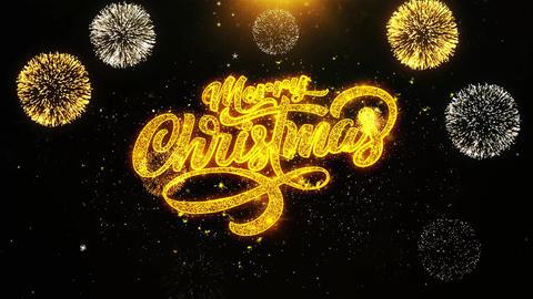 Merry Christmas Xmas Wishes Greetings card, Invitation, Celebration Firework Footage