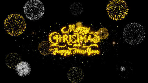 Merry Christmas and new year Text blinking particles with golden fireworks ビデオ
