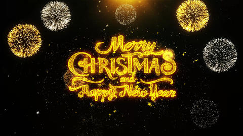 Merry Christmas and new year Wishes Greetings, Invitation, Celebration Firework Live Action