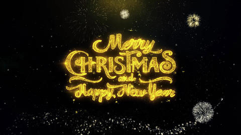 Merry Christmas and new year written gold particles Exploding Fireworks Display Live Action