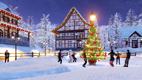 Group of people dance near outdoors Christmas tree at winter night Animation