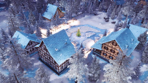Alpine village at snowy Christmas night top view GIF