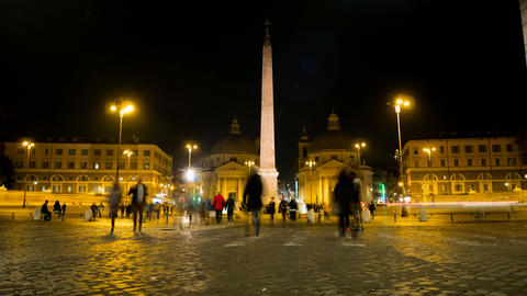 night timelapse in one of the most beautiful squares of Rome, Piazza del Popolo 영상물