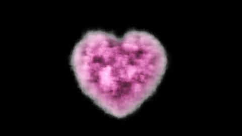 Pink cloud in the shape of a heart with alpha channel Footage