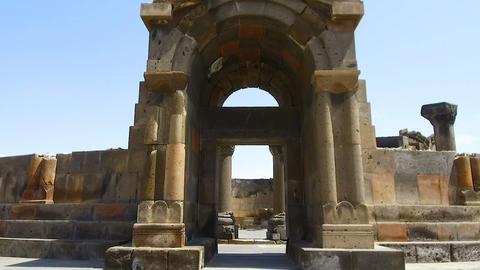 Entrance to Armenian Temple Zvartnots, Celestial Angels, unesco world heritage Live Action