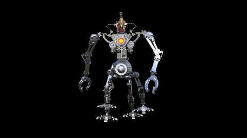 robot battle machine ,loop, animation, transparent background Footage