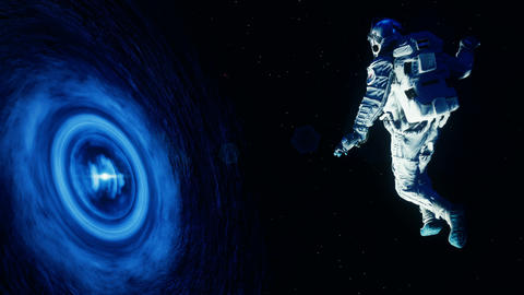 The astronaut is sucked into a massive black hole. Loop animation GIF
