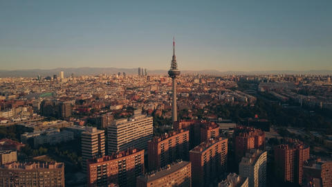 MADRID, SPAIN - OCTOBER 1, 2018. Aerial view of the Torrespana television tower GIF