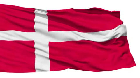 Animation of the full fluttering national flag of Denmark isolated on white Footage