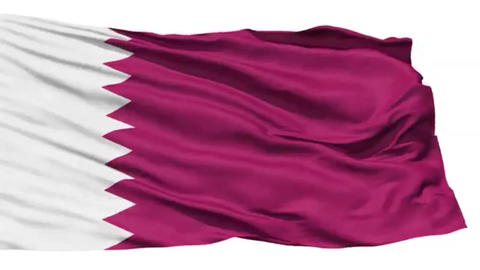 Animation of the full fluttering national flag of Qatar isolated on white Footage