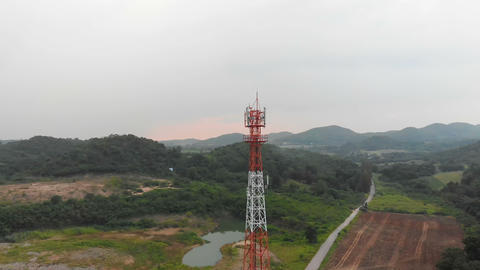 4K Drone shot aerial view scenic landscape of Communication tower with nature GIF