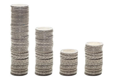 Five stacks of coins that go down, rise and down again - Stop Motion ビデオ