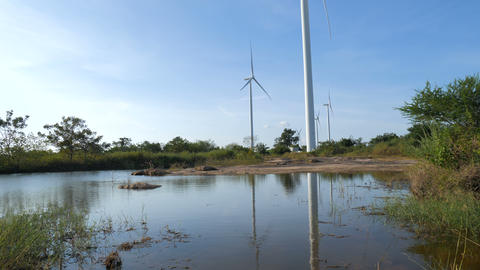 Scenic of wind turbine for electric generation eco and... Stock Video Footage