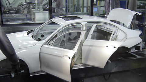Robots Are Painting Automobile In Factory4 Live Action