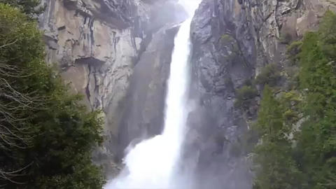 Lower Yosemite Falls water cascading Live Action